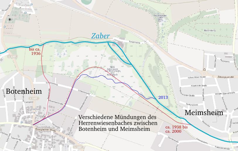 Skizze: die verschiedenen Mündungen des Herrenwiesenbaches
